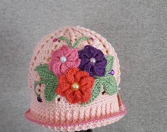 Girls Flower Cloche Hat