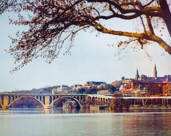 "Washington DC, Georgetown, DC Photography, Key Bridge, Potomac River, Washington Wall Decor, DC Nature Print - ""Georgetown Sunset"""