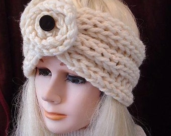 Chunky style Ribbed Turban Headband - KNITTING PATTERN - Knit Flower,  #812, women's winter accessories,