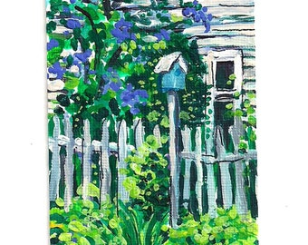 """Lilacs ACEO mini print of my Original Painting, ATC,Small artwork,pretty picture,springtime,birdhouse,flowers,""""Lilacs"""" by Patty Fleckenstein"""
