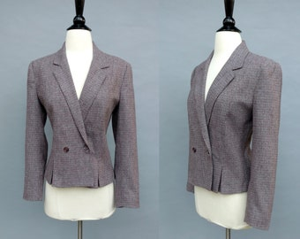 vintage 70s tweed wool blazer || 1970s sienna brown and gray double breasted cropped blazer jacket || small