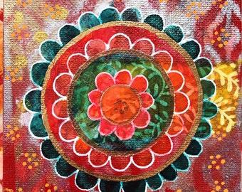 "Original Mixed Media Mandala on canvas 6 - 4""x4"""