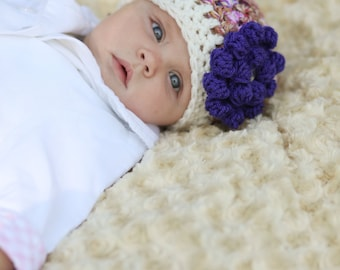 Crochet Baby Hat, Purple Newborn Hat, Photo Prop, Crochet Baby Beanie, Infant Baby Girl Hat