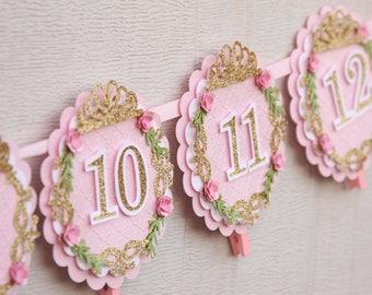 bannière de photo de princesse - princesse 12 mois bannière - rose et or Couronne bannière - princesse 1ère bannière d'an - diadème de princesse photo bannière
