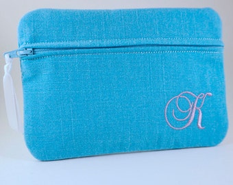 Clutch Bag In The Fabric/Color You Want! Bridesmaid clutch, Monogrammed makeup bag, Make Up Bag, Cosmetic Bag, Personalized Bag