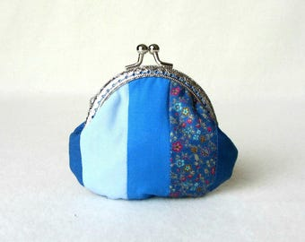 Patchwork coin purse, blue cotton clasp purse, handmade purse, frame pouch, for her, change purse in blues