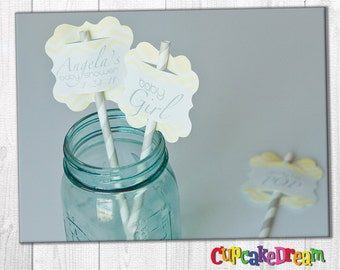 Straw Labels, Striped Paper Straw, Baby Shower Tag