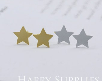 Nickel Free - High Quality Double Star Dual-used Golden / Silver / Rose Gold Brass Earring Post Finding with Ear Stud Stopper (ZEN083)