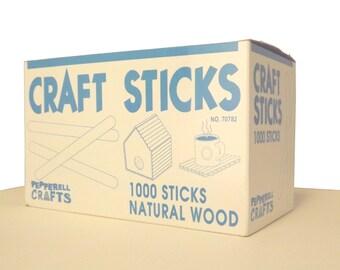"Sealed Case 1000 ct Bulk Wood Popsicle Sticks / Craft Sticks 4 1/2"" x 3/8"""