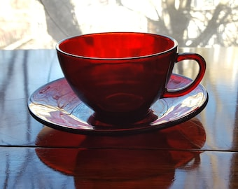 Royal Ruby Cup & Saucer by Anchor Hocking Fire King