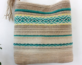 Unique handmade  boho crossbody bag - handwoven wool fabric in gray and white natural wool and hand dyed turquoise