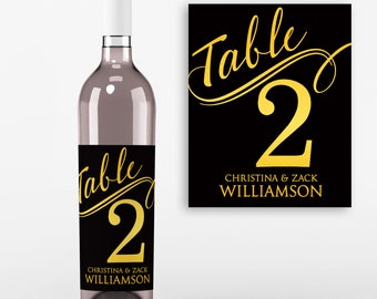 Table Number Wine Labels - Wedding Wine Favors -Table No Wine Labels - Faux Gold Foil and Black - Personalized  Wine Labels - Set of 4