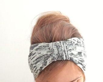 hair turban Fashion turban headband wide headband white black jersey stretch headwrap everyday womens evergreen garden summer head wrap