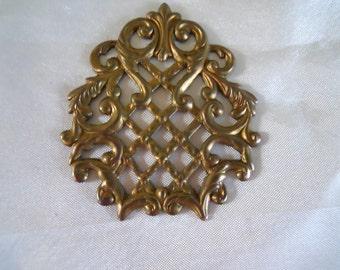 Vintage Brass Filigree Stamping