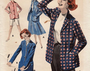 Butterick 7610 / Vintage 50s Sewing Pattern / Bermuda Shorts And Jacket Blazer / Size 16 Bust 34 / Unused