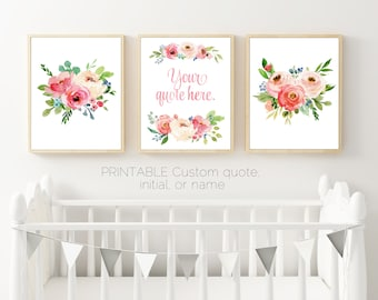 Wonderful Set Of 3 Prints, Pink Floral Wall Art, Your Quote Here, Floral Watercolor