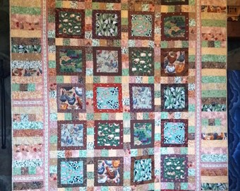 """Child's Quilt, Farm Quilt, Twin size (63 x 90), Earth Tones, Animals, Patchwork Back, """"Where's the Little Red Hen."""""""