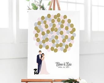 Wedding Guest Book Alternative - Couple Portrait Guest Book - Balloon Guest Book Canvas - Wedding Guest Sign In Balloons