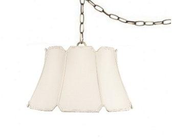 Eggshell Silk 17 Inch V-Notch Portable Swag Lamp Shade