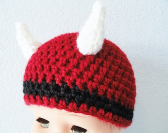 Little Red Bull Chicago Bulls Inspired Baby Beanie with Horns By Distinctly Daisy