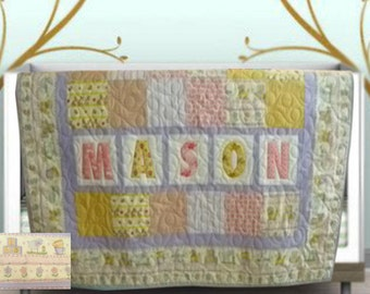 Custom Baby/Child/Toddler Quilt, Girl, Personalized w/Organic fabric, Available in any color