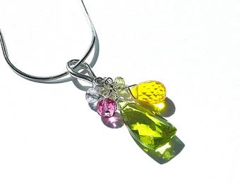 NEW Olive Green Quartz Pyramid Neclace / Sterling Silver / Multi Color Pendant / Yellow / Pink / Lavender / Mothers Day Gift / OOAK