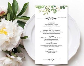 Printable Wedding Menu, Rustic Greenery Wedding Menu Template, Editable, Meadow, VW28