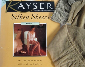 Vintage 80's Stockings-Kayser Silken Sheers Stay Ups with Lace Tops and Shadow Toe-Size Medium Full Thigh-Colour Bare with Beige Lace Tops