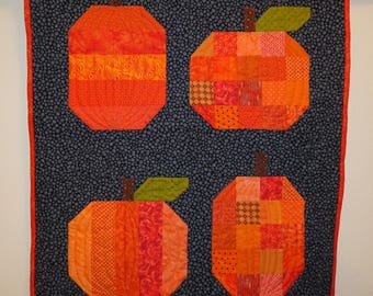 Quilted Wall Hanging - PUMPKINS  for Autumn or Halloween Wall Hanging or Wall Quilt or Table Cloth - Medium Sized