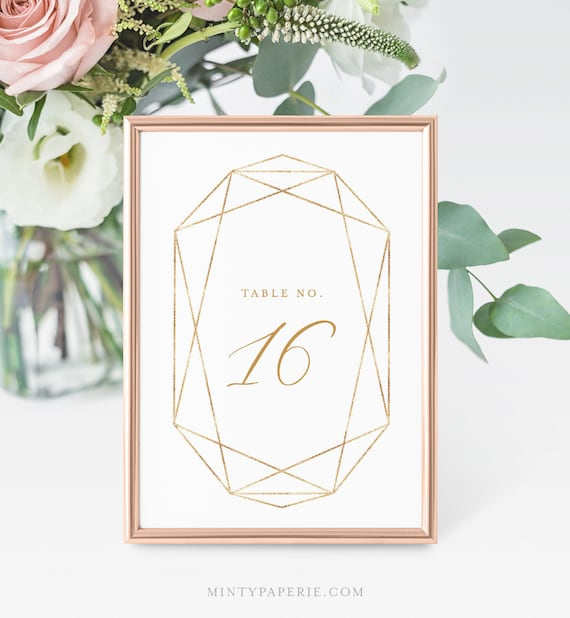 Wedding Table Number Template, Printable Faux Gold Geometric Table Card, INSTANT DOWNLOAD, 100% Editable, Templett, 4x6 & 5x7  #055-125TC