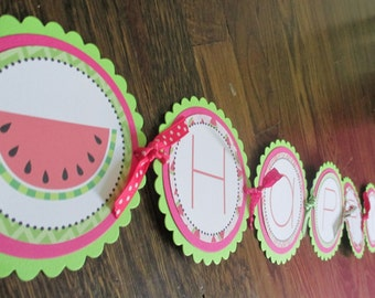 Watermelon Collection: Custom Large Birthday Banner. Watermelon. Melon. Fruit. Summer. Birthday. Fun. Lime Green & Pink. Seeds. Personalized