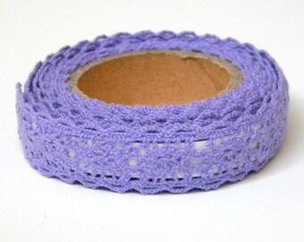 Purple Fabric Tape - Crochet Lace, Decorative Cotton Adhesive