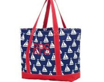Sail Away Tote Bag Monogrammed Tote Bag Beach Bag