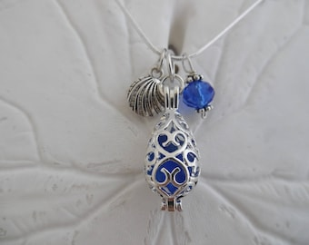 Blue Sea Glass Shell Necklace Locket Beach Glass Jewelry  Silver