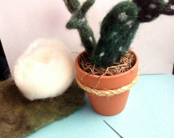 """Felted Cactus in 2.5"""" Clay Pot"""