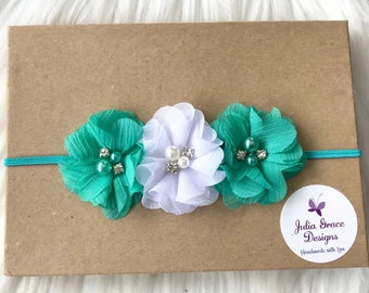 Teal & White Flower Headband, Baby Headband, Infant Headband, Baby Girl Headband, Girl Headband, Toddler Headband, Children's Headband, Teal