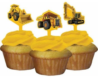 12/ Construction  Cupcake toppers