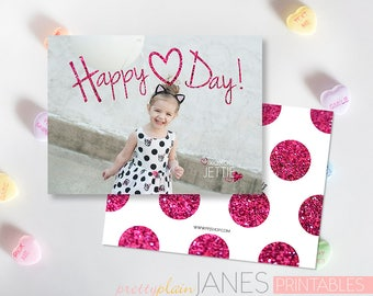 Happy Heart Day Valentine Photo Card Printable | Custom Valentine | Digital Printable Valentine | Classroom Valentine
