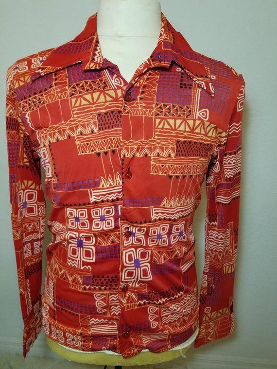 FREE SHIPPING 1970 Men AbStrACt Shirt ADfipj3f