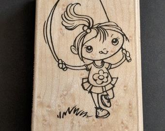 Jump Rope Kiddo Wood Mounted Rubber Stamp