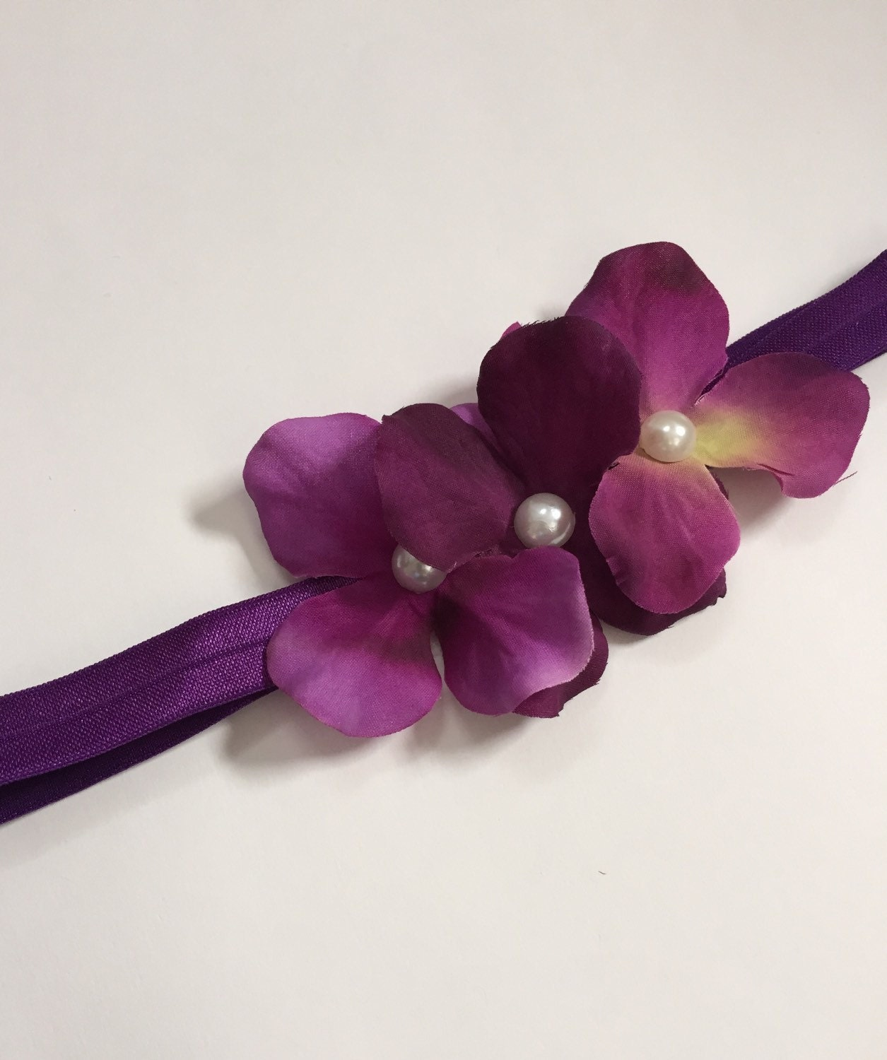 Plum Purple Hydrangea Flower Girl Headband Girls Flower