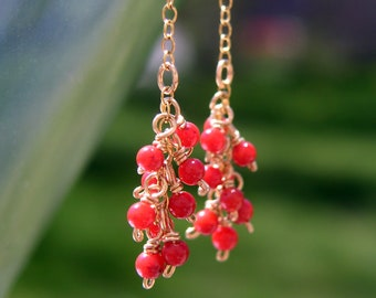 Red Coral Cluster Gold Chain Earrings Delicate Gemstone Fringe Dangles Elegant 14k Gold Fill Drop Earrings Colorful Jewelry