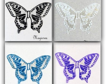 wings transparent butterflies 5 cm gold glitter patterns - Maeva-scrapbooking, card making, figurines, decorative floral, Home Decor made in France