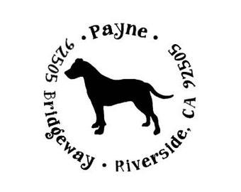 pitbull terrier return address custom rubber stamp