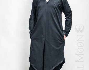 "NEW Men's HeavyWeight ""Sorcerer"" Kaftan Long Tunic in Black with Black Faux Vegan Leather Details by Opal Moon Designs (Size S-XXL)"