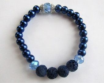 Essential oils or perfume diffuser bracelet in beautiful shades of blue. Lava bead bracelet. Stretchy bracelet. Beaded bracelet