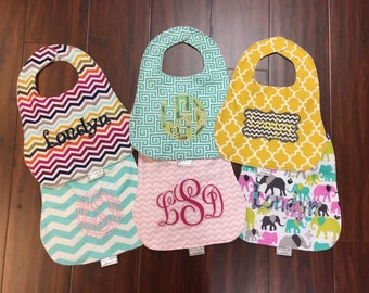 Baby Girl Personalized Bibs  - YOU PICK 2,3,4,5 or 6!!!! Chevron, Quatrefoil, Elephants