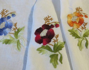 "Fall-Autumn Tablecloth in LINEN  //  Vintage with Fall or Spring Embroidered Flowers Pansies  //  38"" by 37"" Square  //  Olive Green Borders"