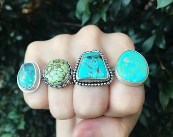 SALE - Turquoise Rings - Silver Jewelry - Gemstone Jewelry