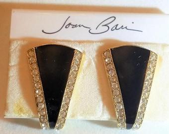 25% OFF SALE Joan Bari Black Enamel and Rhinestone Vintage Earrings